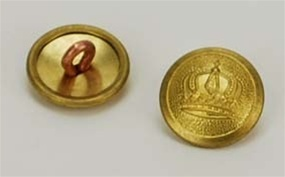 1910 Rimmed Crown Buttons - 17mm